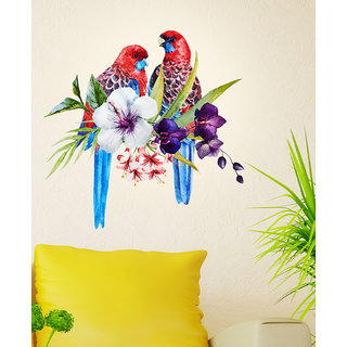 Wall Stickers Pretty Tropical Birds on Floral Branch for Sofa Backdrop( W x H : 55*55cm)