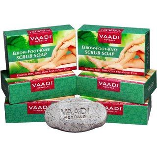 Vaadi Herbals - Pack of 6 Elbow-Foot-Knee Scrub Soap with Almond Walnut Scrub (6 X 75 gms)
