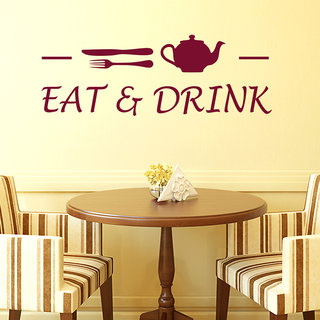 Wall Stickers Cafe Eat and Drink Wall Decals For Kitchen Walls Vinyl
