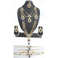 Dark Blue Stone kundan bridal necklace set