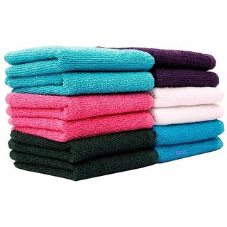 Bpitch (10x10inch) Cotton Face Towel MultiColor Cotton Terry (Set of 10)