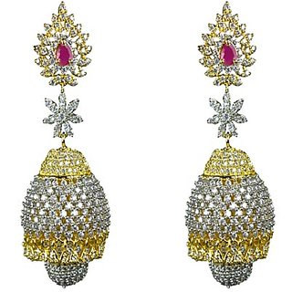 JOY DURGA IMITATION JEWELLERIS AMERICAN DIAMOND, BRASS, ATTRACTIVE JHUMKI SET