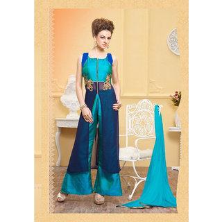 Royal Fashion Blue Georgette Semi- Stitched A Line Women's Suits