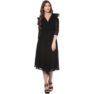 Femella Midi Black Plain Womens Dress
