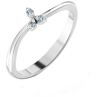 Kataria Jewellers The Millicente 92.5 BIS Hallmarked Silver and American Diamonds Designer Ring