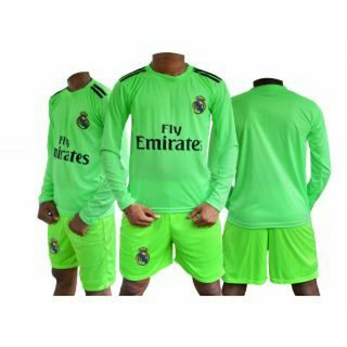 Dinnar fashion long sleeve light green realmadrid football Jersey