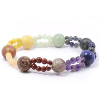 Reiki Crystal Products Purple 7 Chakra 2 Line Design Bracelet Reiki, Healing Gemstone,