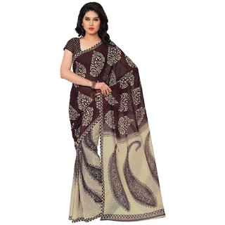 Thankar Dark Purple  Cream Faux Georgette Printed Saree