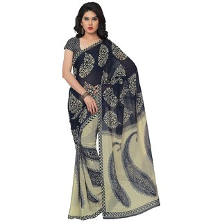 Thankar Navy Blue  Cream Faux Georgette Printed Saree