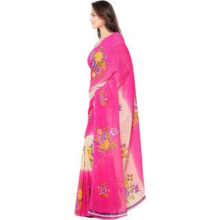 Thankar Pink  Multi Faux Georgette Printed Saree