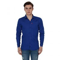 New Democratic Slimfit Plain Blue  Casual Shirt