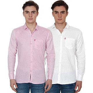 New Democratic Pink  White Casual Slimfit Shirts