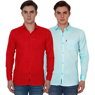 New Democratic Red  Sky Casual Slimfit Shirts