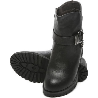 TEN Black Casual Leather Boots ]