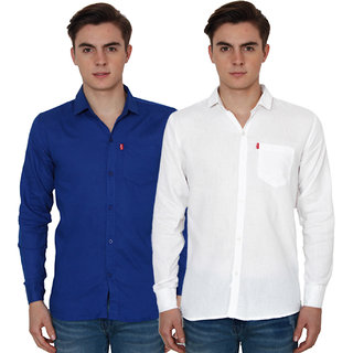 New Democratic Blue  White Casual Slimfit Shirts