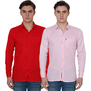 New Democratic Pink  Red Casual Slimfit Shirts