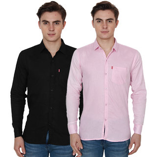 New Democratic Black  Pink Casual Slimfit Shirts