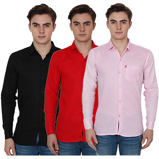 New Democratic Pack Of 3 Plain Casual Slimfit Shirts (Pink Red Black)