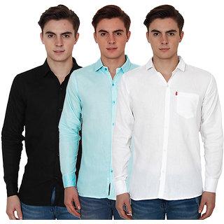 New Democratic Pack Of 3 Plain Casual Slimfit Shirts (White Black Sky)