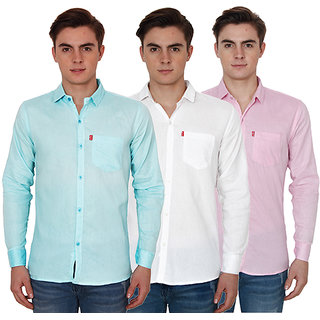 New Democratic Pack Of 3 Plain Casual Slimfit Shirts (White Pink Sky)