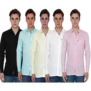 New Democratic Pack Of 5 Plain Casual Slimfit Shirts