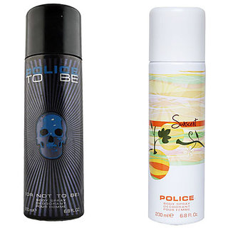 Police To Be Men And Police Sunscent Women Deodorants Of 200ml each (Pack Of 2)