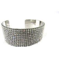 Silver White Stone Kada Bracelet