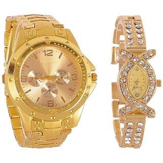 Rosra Gold Quartz Couple Watch