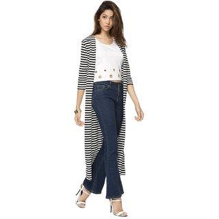 Raabta Fashion Black, White Viscose Shrug For Women
