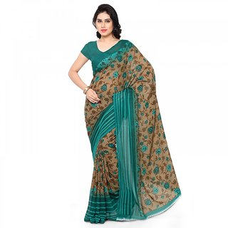 Thankar Beige&Blue Printed Georgette Saree With Blouse