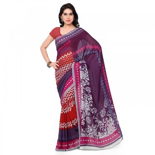 Thankar Multicolor&Red Printed Georgette Saree With Blouse