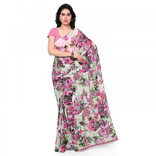 Thankar Multicolor Printed Georgette Saree With Blouse