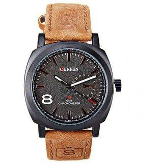 Men Curren Brown Leather Analog Watch for Men