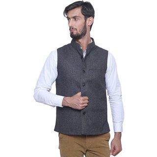 Dhrohar Black Tweed Woolen Waistcoat for Men