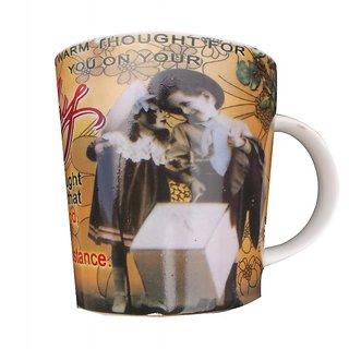 volik Volik Printed Happy Birthday Coffee Ceramic Mug  (300 ml)