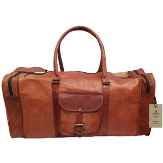 24 100 Pure Leather Unisex Travel Brown Casual Duffle / Gym Bag