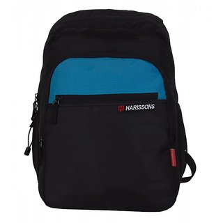 Harissons Bravo Blue  Black Polyester Laptop Backpack
