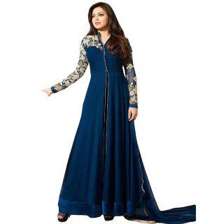 Salwar Soul BEAUTIFUL BLUE GEORGETTE LONG ANARKALI DRESS For Girls For Specail Uses In wedding Free Size