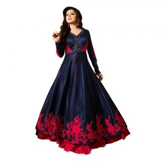 Salwar Soul Mirror Work Banglory SILK LONG STYLE DRESS For Girls For Specail Uses In wedding, Free Size Slawar Suit