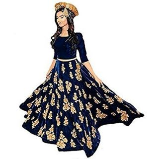 Salwar Soul Designer Beautifull Blue velvet Lehenga Choli For Girls For Specail Uses In wedding