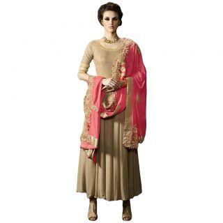 Salwar Soul BEIGE COLOR LATEST INDIAN DESIGNER ANARKALI SALWAR KAMEEZ DRESS for women & girls Free Size
