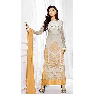 Salwar Soul Designer Yellow Georgette Embroidery Dress Materials