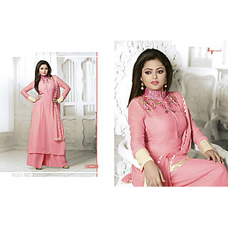 Salwar Soul Designer Peach georgette Embroidery Dress