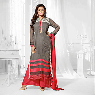 Salwar Soul Designer Grey georgette Embroidery Bollywood Suits
