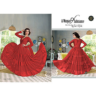 Salwar Soul Designer Red Net with satin Embroidery Salwar Suits