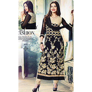 Salwar Soul Designer Black georgette Embroidery Dress Materials