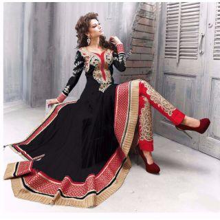 Salwar Soul Designer Rama Net Embroidery Anarkali Suits