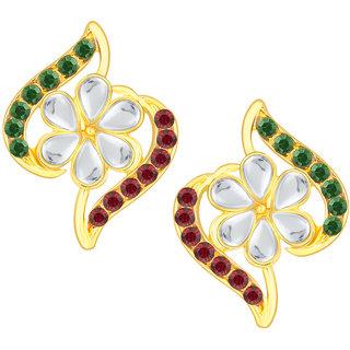 Shostopper Multicolor Contemporary Alloy Semi-Formal Gold Plated Australian Diamond Studs
