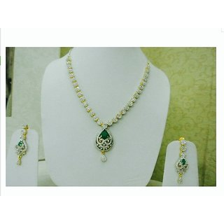 Beautiful Emerald Stone American Diamond Cz Necklace Set