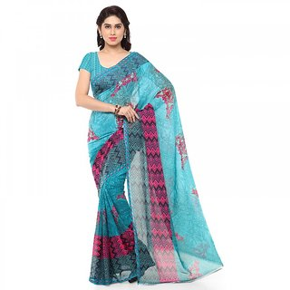 Thankar Sky  Pink Faux Georgette Printed Saree